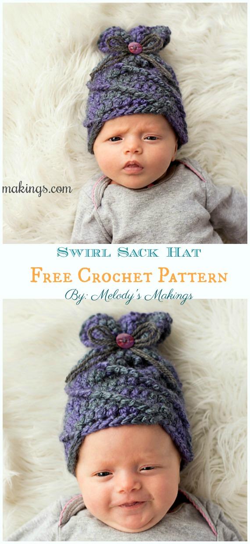 Swirl Sack Hat Crochet Free Pattern - Sack #Hut;  Kostenlose #Häkeln;  Muster