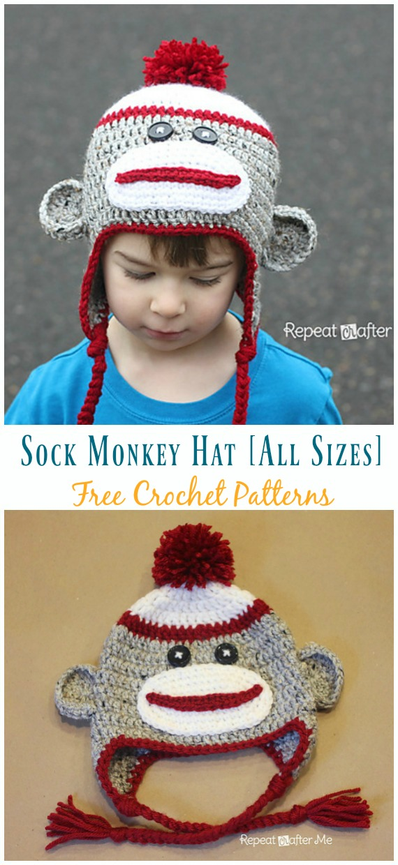 sock monkey knitted hat sock monkey costume halloween costume monkey costume Sock monkey crochet hat red sock monkey monkey hat