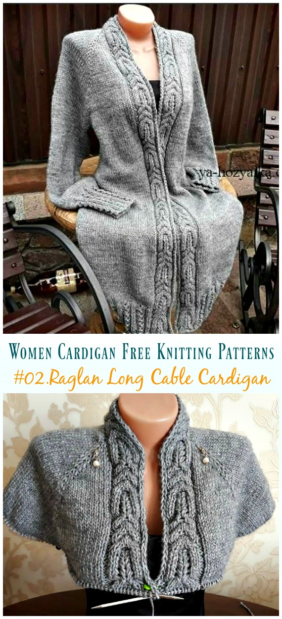 Raglan Knit Long Cable Cardigan Knitting Free Pattern Women Cardigan