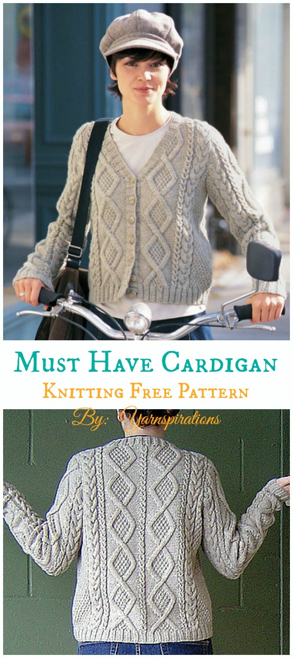 Must Have Cable Cardigan Knitting Free Pattern Women Cardigan