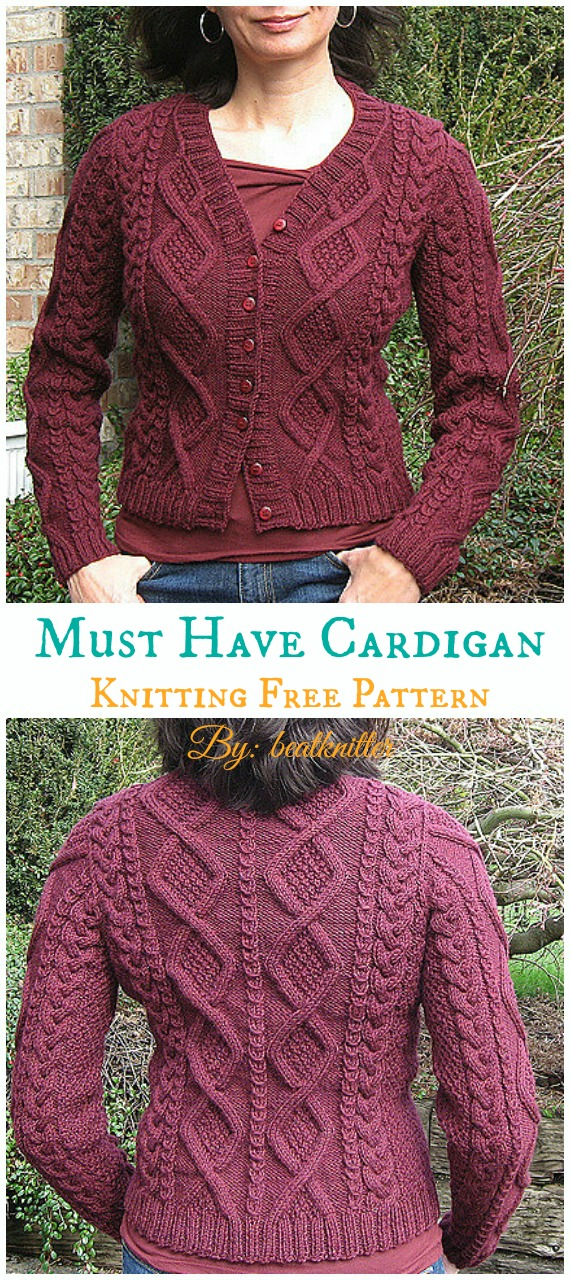 Must Have Cable Cardigan Knitting Free Pattern - Women ...