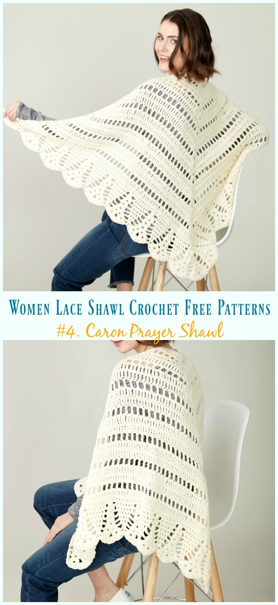 Caron Prayer Shawl Crochet Free Pattern - Women Lace Shawl