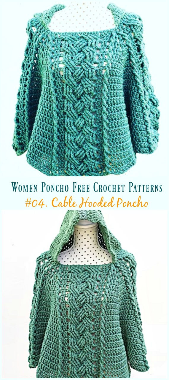Cable Hooded Poncho Crochet Free Pattern Video Women Poncho