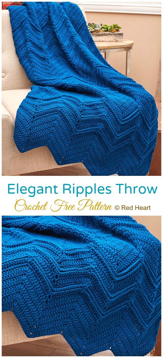 Elegantes Ripples-Wurf-freies Häkelmuster - - #Crochet;  Welligkeit #Decke;  Kostenlose Häkelanleitung