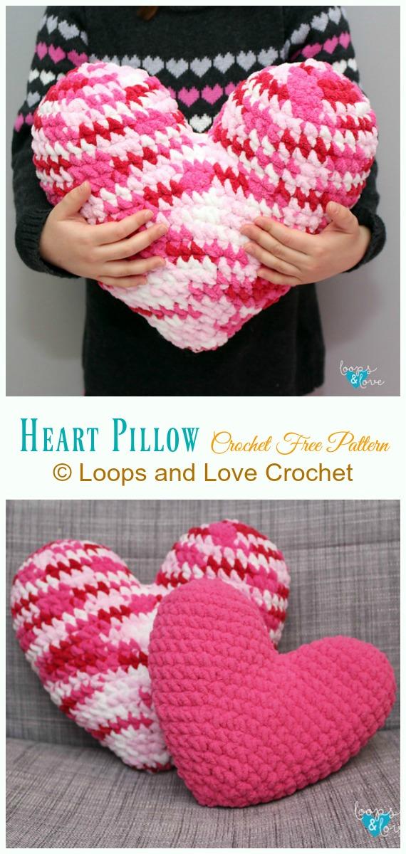 Padrão de crochê sem travesseiro de coração - #Coração;  #Almofada;  Grátis #Crochet;  Padrões