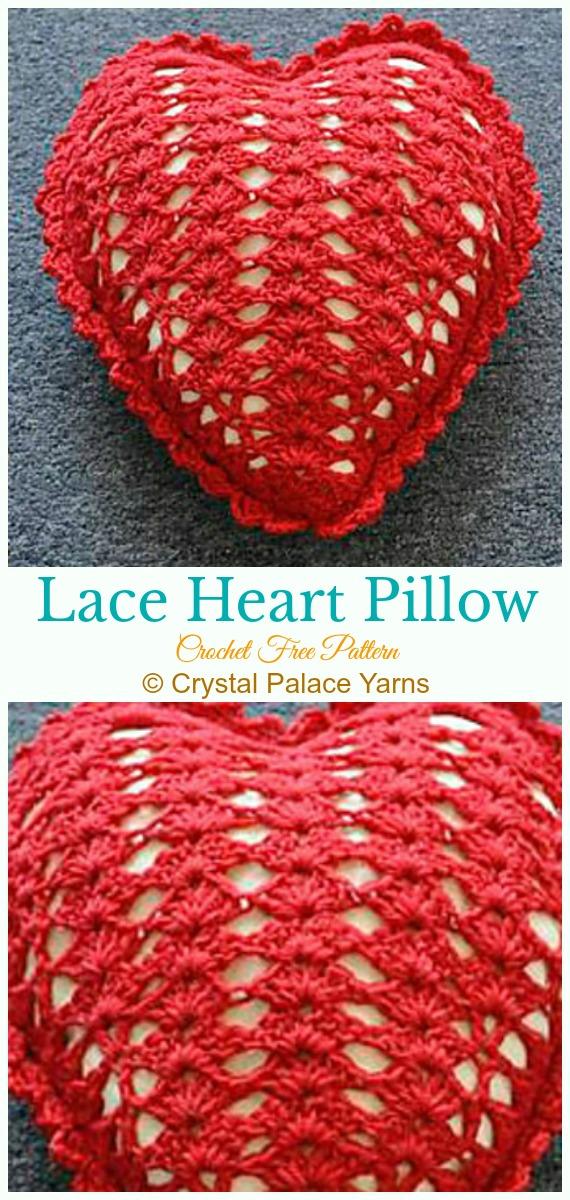 Heart Pillow Free Crochet Patterns