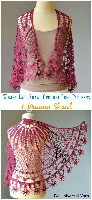 Corona Shawl Crochet Free Pattern - Frauenspitze #Schal;  Kostenlose #Häkeln;  Muster