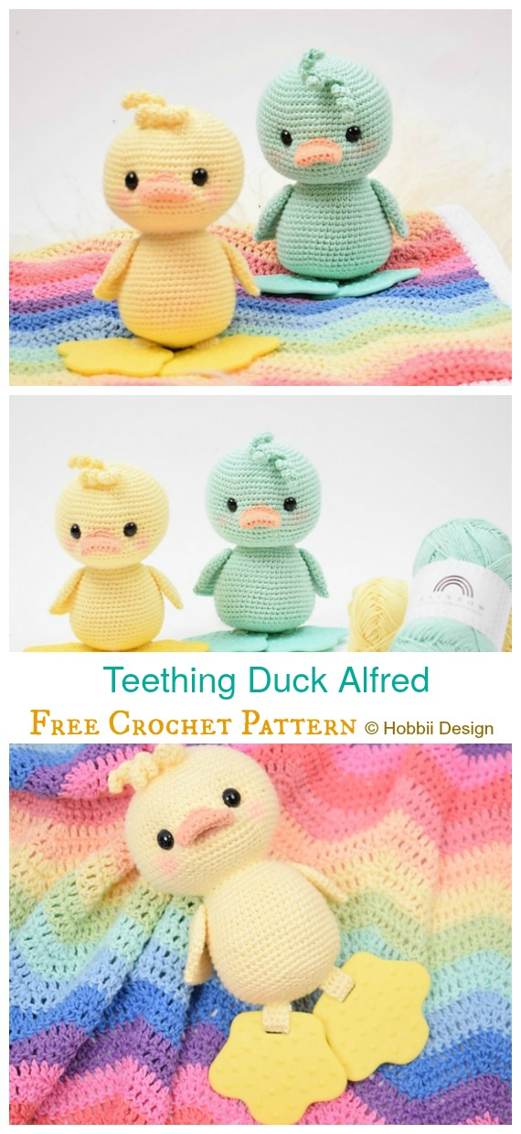 PDF Pattern altErmuligt/'s Crochet Duck with Duck/'s Feet Textured Teether