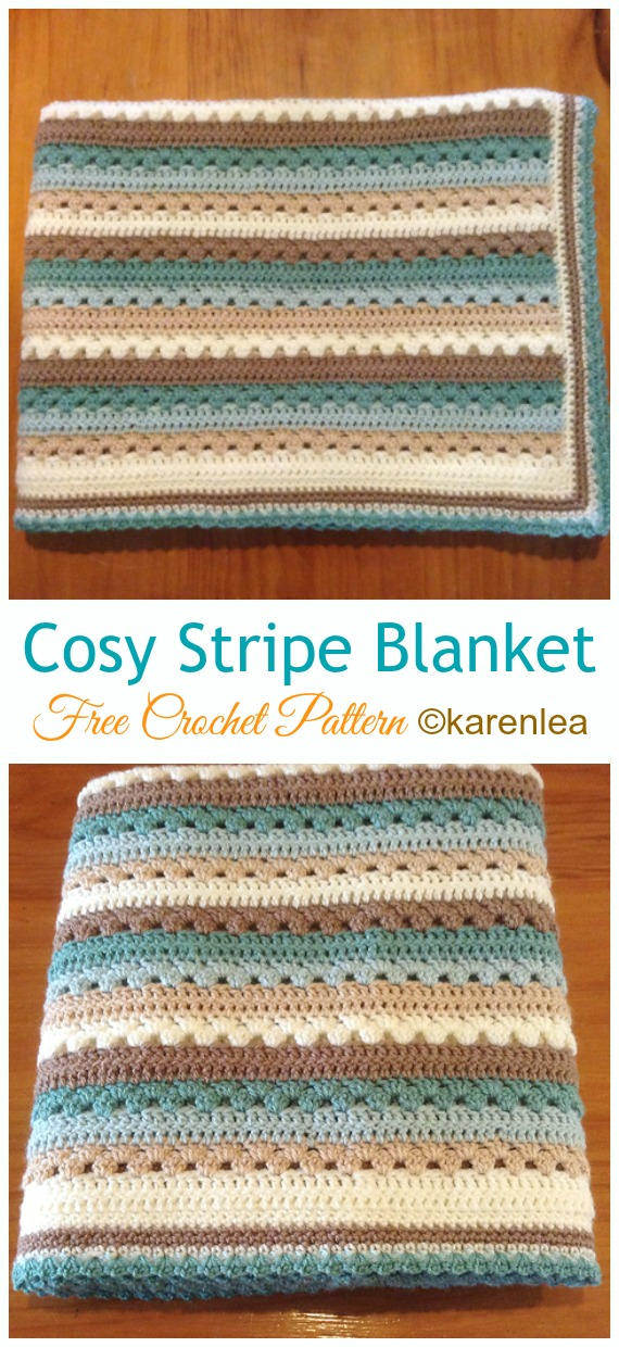Cosy Stripe Blanket Crochet Free Pattern Stripy Blanket