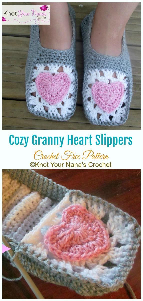 Gemütliche Oma-Herz-Hausschuhe häkeln kostenloses Muster - Erwachsene #Slipper;  Kostenlose #Häkeln: Muster