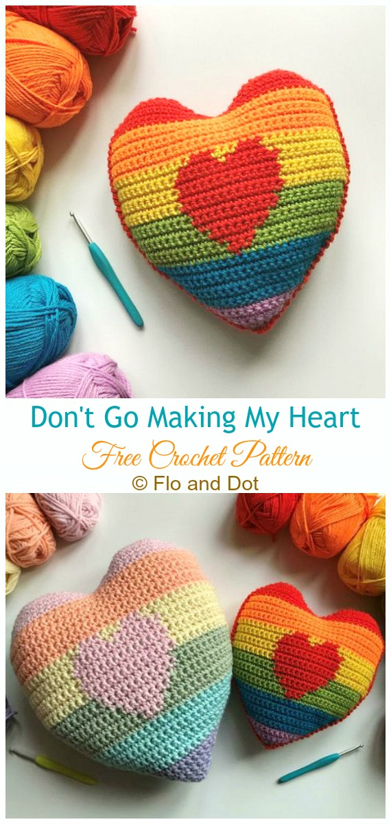 Não vá fazer meu padrão de crochê de almofada de coração livre - #Coração;  #Almofada;  Grátis #Crochet;  Padrões