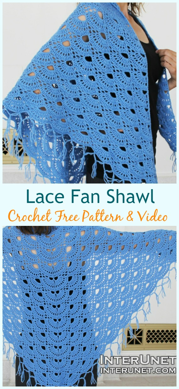 Lace Fan Shawl Crochet Free Pattern - Frauenspitze #Schal;  Kostenlose #Häkeln;  Muster