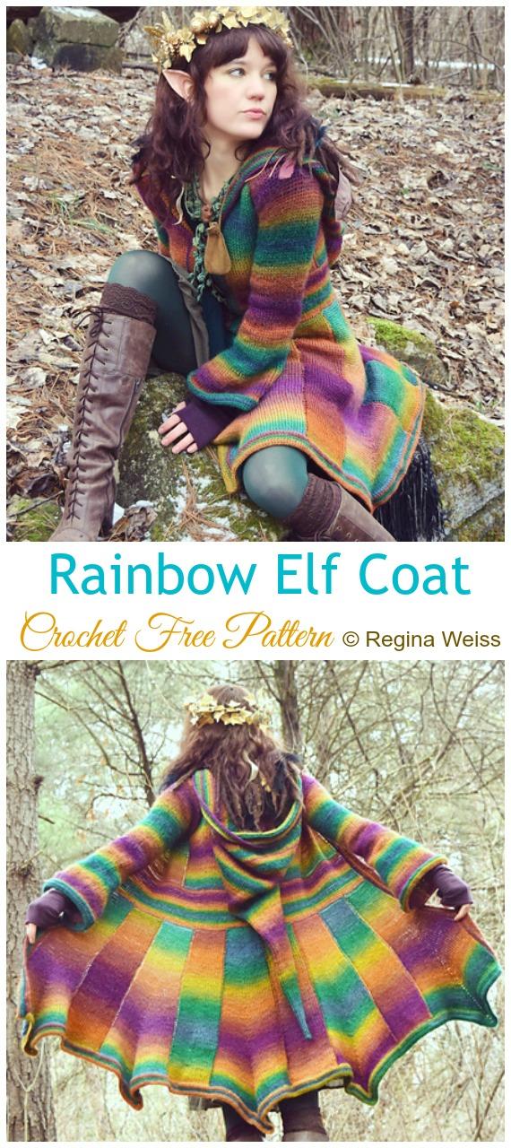 Rainbow Elf Coat Crochet Free Pattern Women Coat