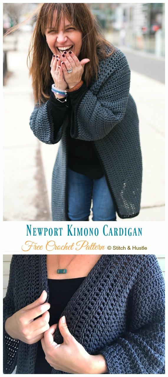 Newport Kimono Cardigan Crochet Free Pattern - Frauen #Kimono;  #Strickjacke;  Kostenlose #Häkeln;  Muster