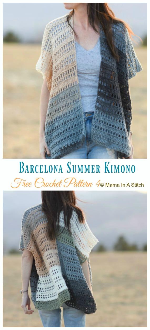 Barcelona Summer Kimono Cardigan Crochet Free Pattern - Frauen #Kimono;  #Strickjacke;  Kostenlose #Häkeln;  Muster
