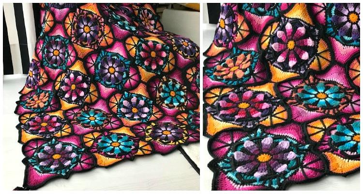 Stained Glass Flower Blanket Crochet Free Pattern