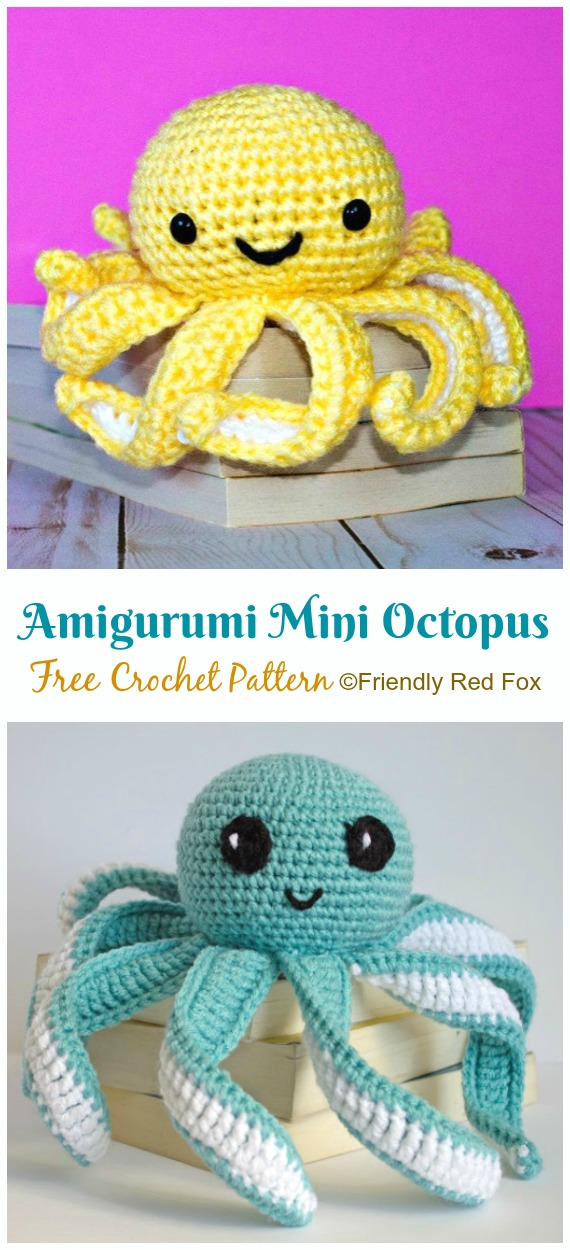 Mini octopus amigurumi crochet pattern ⋆ Crochet Kingdom | 1250x570