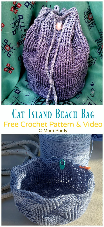 Cat Island Strandtasche Kostenlose Häkelanleitung [Video] - Kordelzugbeutel Free #Crochet;  Muster