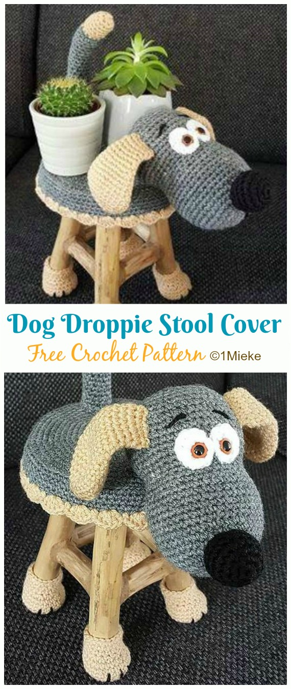 Amigurumi Dog Droppie & Stool Cover Crochet Free Patterns ... | 1350x570