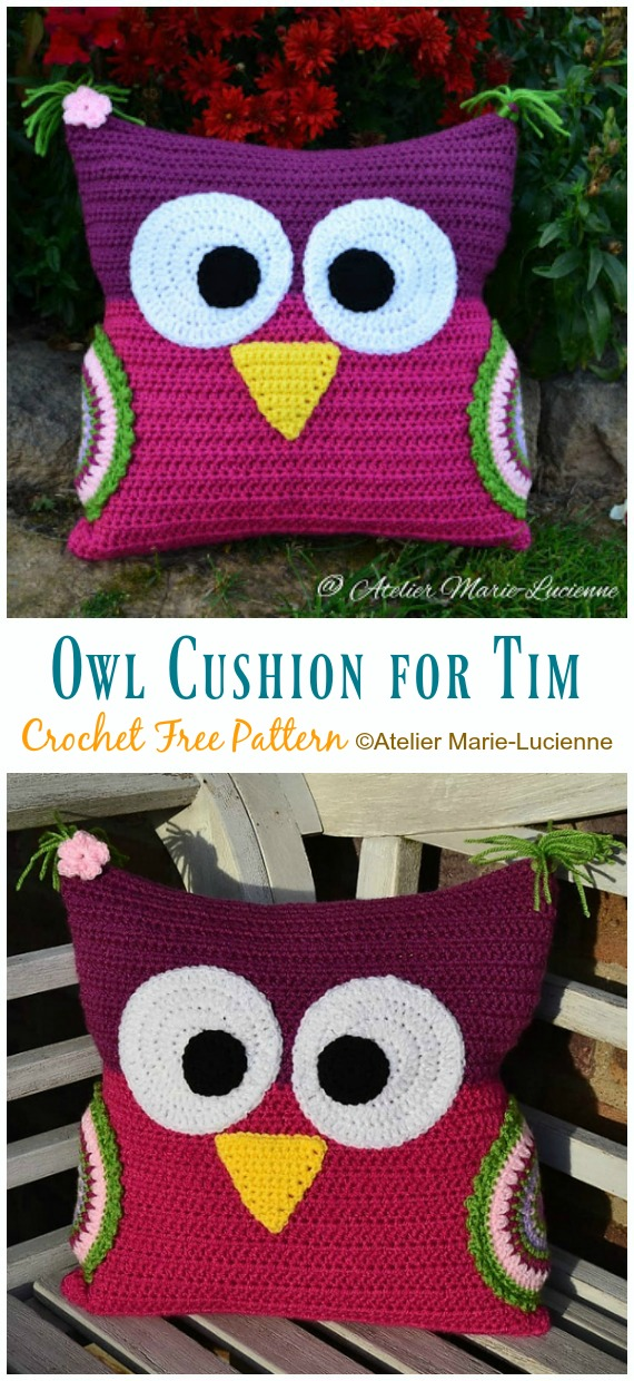 Owl Cushion for Tim Crochet Free Pattern - #Owl; Pillow #Crochet; Free Patterns