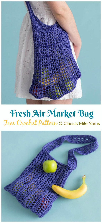 Fresh Air Market Bag Crochet Free Patterns - - #Crochet;  Markt Lebensmittel #Tasche;Kostenlose Muster