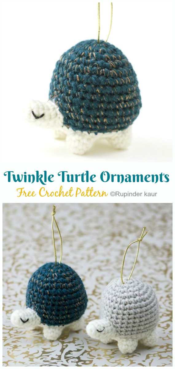 Crochet Twinkle Turtle Ornaments Amigurumi Free Pattern - Amigurumi Baby Turtle Crochet Free Patterns