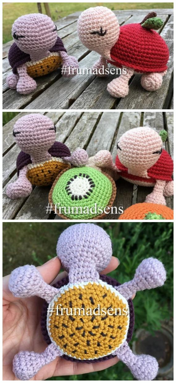 Crochet Fruit Turtle Amigurumi Free Pattern - Amigurumi Baby Turtle Crochet Free Patterns