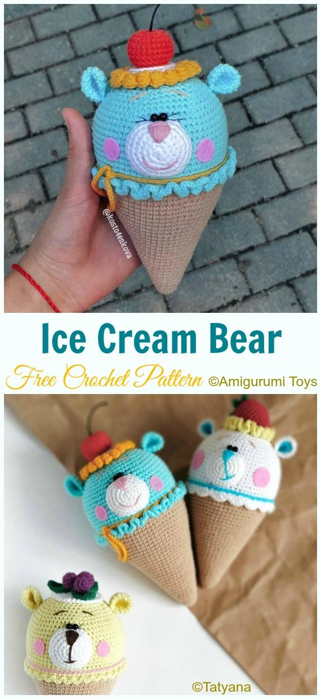 Ice cream Bear amigurumi pattern | Amiguroom Toys | 1240x570