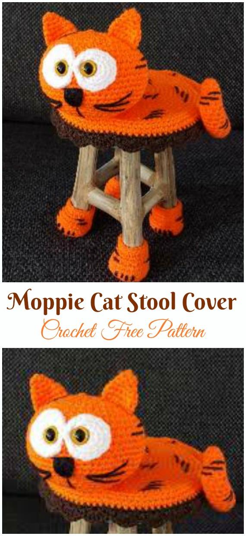 #Amigurumi;  Moppie Kedi Dışkı Örtüsü Kroşe Ücretsiz Desenler
