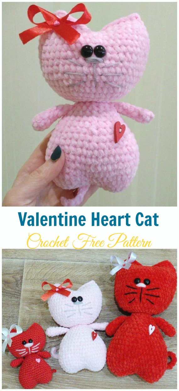 Amigurumi Valentine Heart Cat Crochet Free Patterns - Crochet Toy #Cat; #Amigurumi; Free Patterns