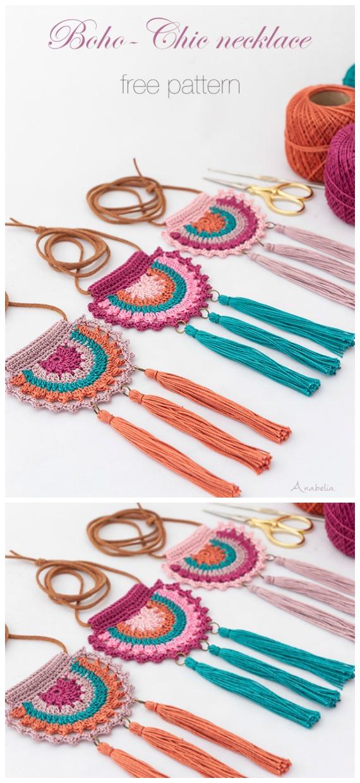 Boho-Chic Halskette Häkelanleitung – #Schmuck;  Kostenlose #Häkeln;  Muster