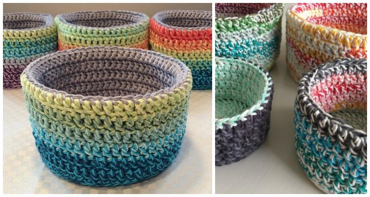 Crochet Storage Baskets Free Patterns   The WHOot   400x750
