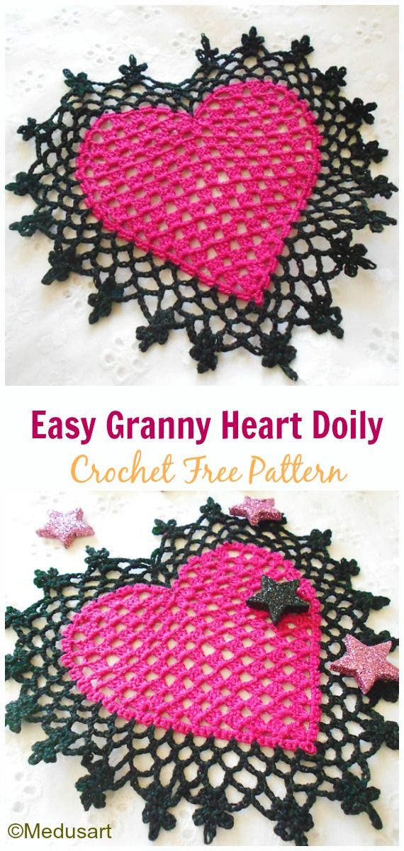 Easy Granny Heart Doily Crochet Free Pattern Video