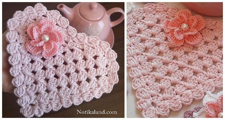 Easy Granny Heart Doily Crochet Free Pattern Video