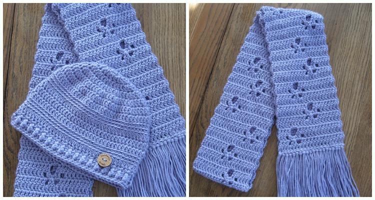 Meandering Paw Prints Beanie Amp Scarf Set Crochet Free