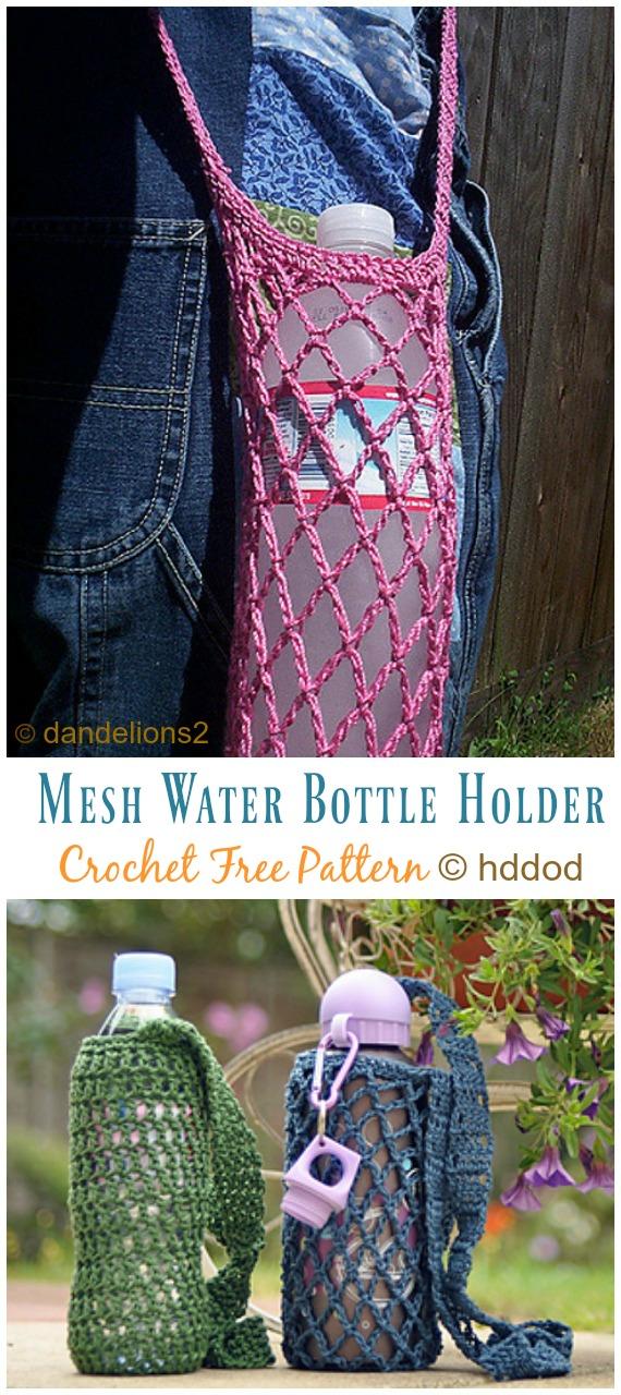 Mesh Water Bottle Holder Crochet Free Pattern Video