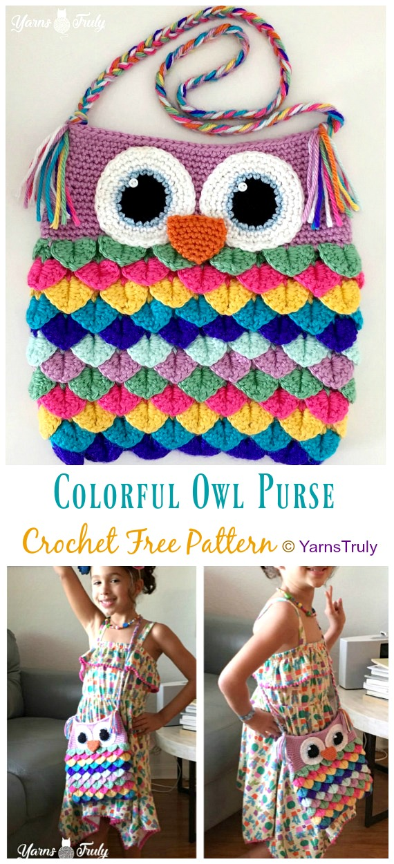 Colorful Owl Purse Crochet Free Patterns - Kids Shoulder #Bags; Free #Crochet; Patterns