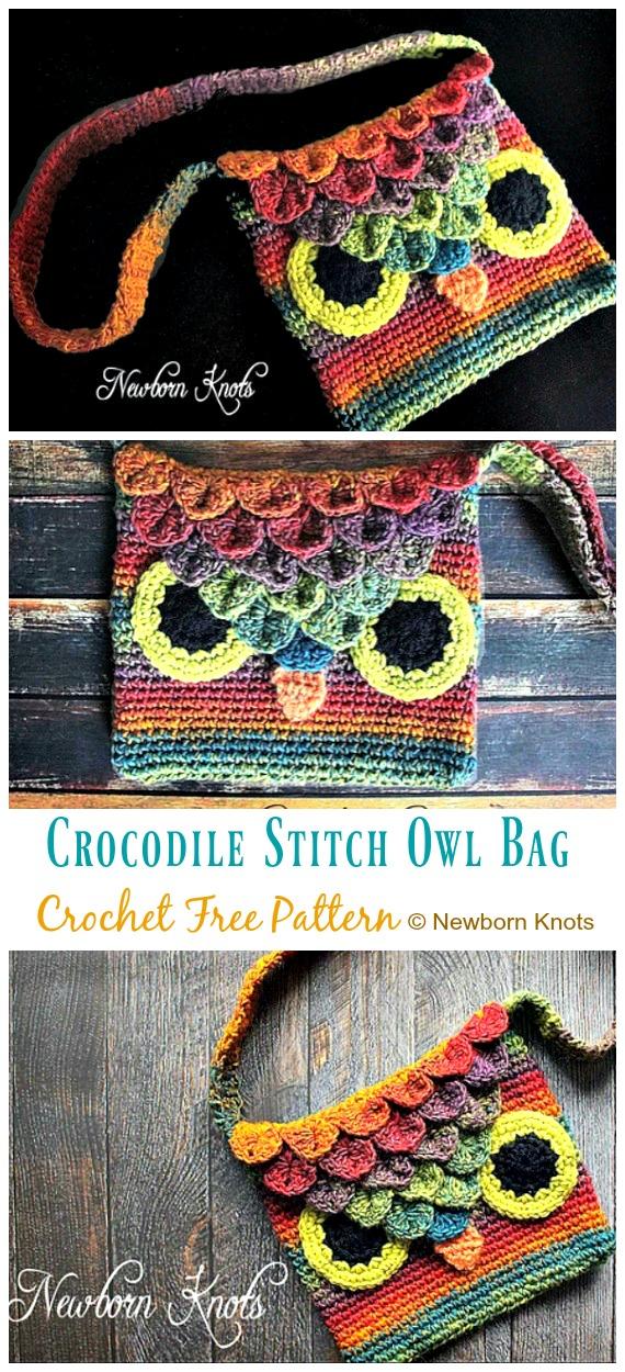 Crocodile Stitch Owl Bag Crochet Free Patterns - Kids Shoulder #Bags; Free #Crochet; Patterns