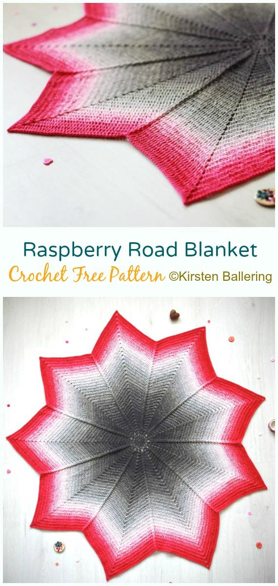 Raspberry Road Blanket Crochet Free Pattern - #Crochet;  Welligkeit #Decke;  Kostenlose Häkelanleitung