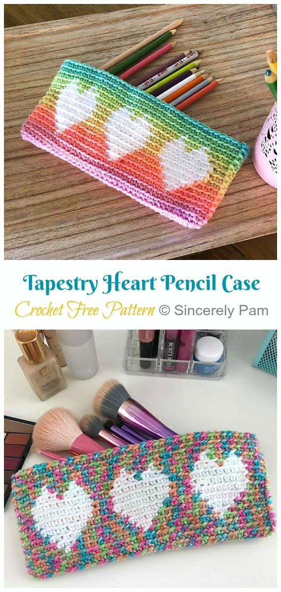 Tapestry Heart Pencil Case Crochet Free Pattern Crochet