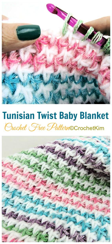 Twist Baby Blanket Tunisian Crochet Free Pattern Video
