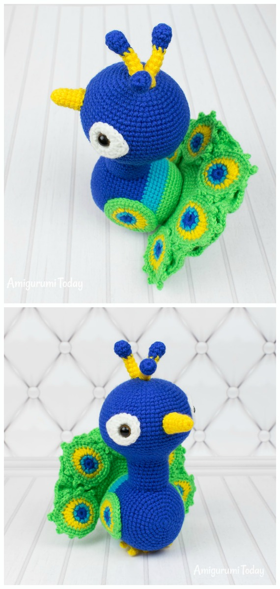 Regal the Peacock | Free Crochet Pattern | Hooked by Kati | 1200x570