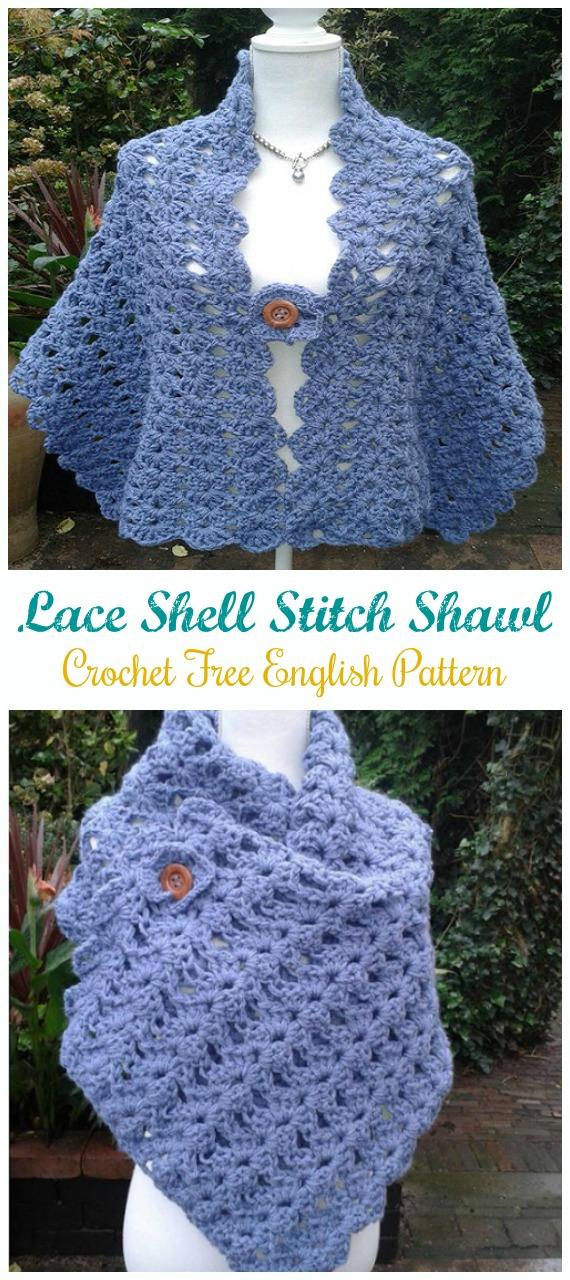 Lace Shell Stitch Schal Häkelanleitung kostenlos [Video] - Frauenschal #Wrap;  Kostenlose #Häkeln;  Muster
