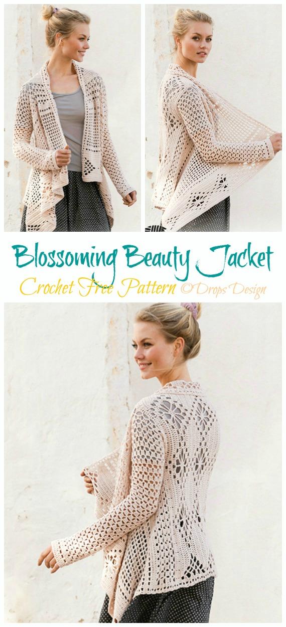 Blossoming Beauty Lace Granny Square Jacket Häkelfreie Muster - Frühling und Sommer Frauen #Cardigan;  Kostenlose #Häkeln;  Muster