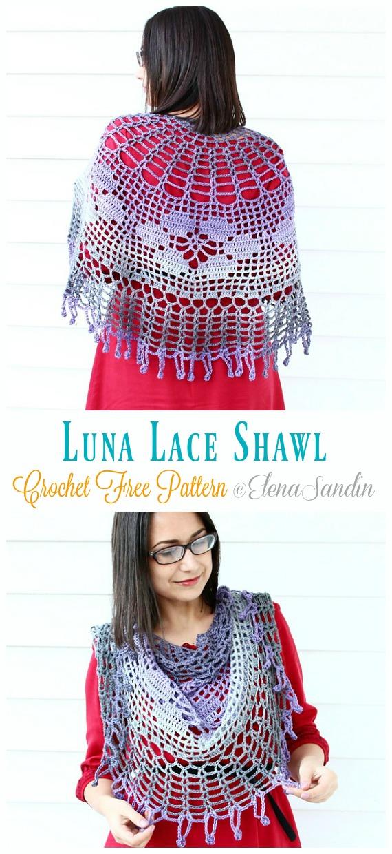 Luna Lace Shawl Crochet Free Patterns- Women Lace #Shawl; Free #Crochet; Patterns