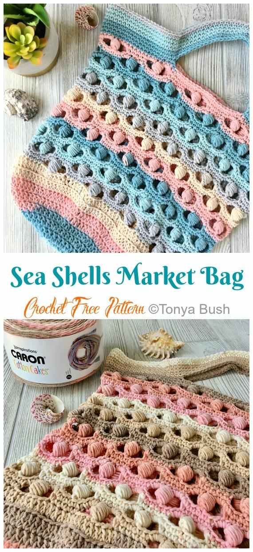 The Shore Market Bag tarafından Deniz Kabukları Crochet Free Pattern- #Crochet;  Market Bakkal # Çanta; Ücretsiz Desenler