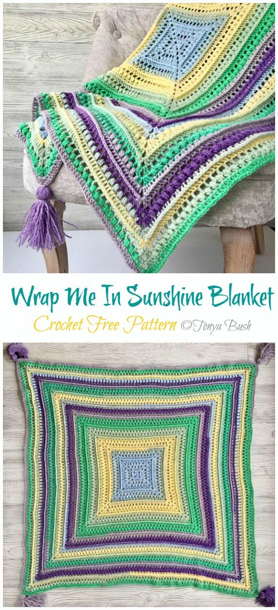 Beni Güneşli Battaniyeye Sarın Crochet Free Pattern - Asla Bitmeyen Kare #Blanket;  # Tığ işi;  Ücretsiz Desenler