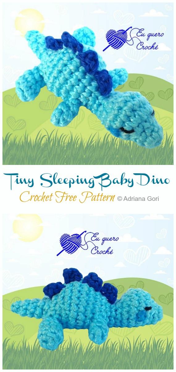 Amigurumi Tiny Sleeping Baby Dino Crochet Free Pattern -Free #Amigurumi; #DinosauR; Toy Softies Crochet Patterns