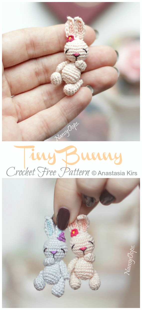 Free crochet pattern: Tiny bunny with straight or floppy ears | 1240x570