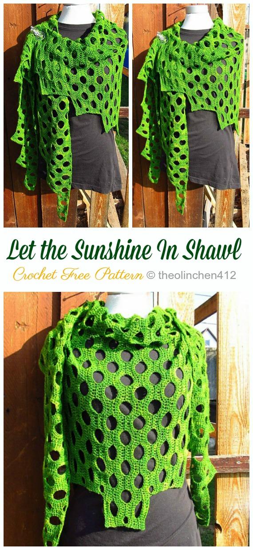 Lassen Sie den Sonnenschein im Spitzenschal häkeln freies Muster - Frauenspitze #Schal;  Kostenlose #Häkeln;  Muster